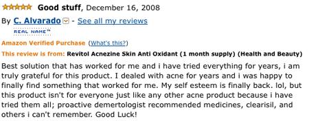 Acnezine Testimony
